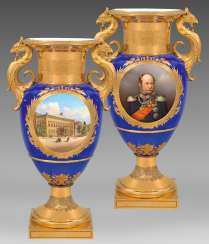 Royal luxury vase with the Portrait of Wilhelm I of Prussia and the view of the Berlin city Palace