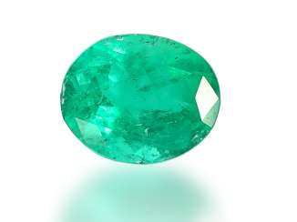 Emerald: oval, precious, natural emerald of good quality, approx. 3ct