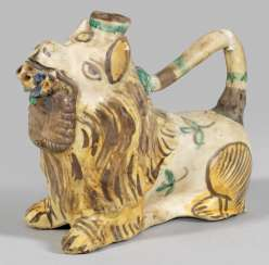 Oil lamp in the shape of a lion