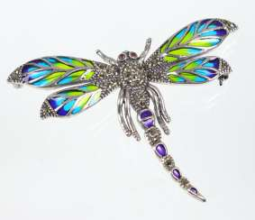 Dragonfly with window enamel silver