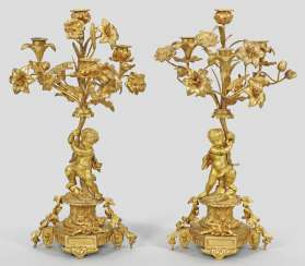 Pair Of Belle Epoque Figures, Girandoles