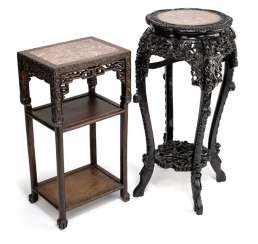 TWO HIGH SIDE TABLES,