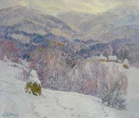 Winter in the mountains Painting by Aleksandr Dubrovskyy