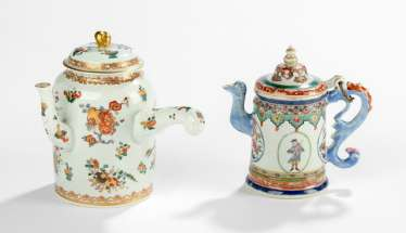 Two polychrome decorated teapots