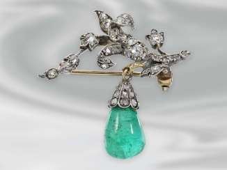 Brooch/pin: antique gold-wrought brooch set with diamonds and fine emerald, probably around 1900