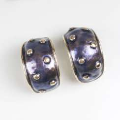 Pair of Gold clip-on earrings with enamel decor