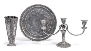 Vase, candlesticks, and tray, silver
