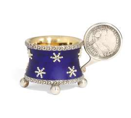 A JEWELLED AND ENAMEL PARCEL-GILT SILVER CHARKA