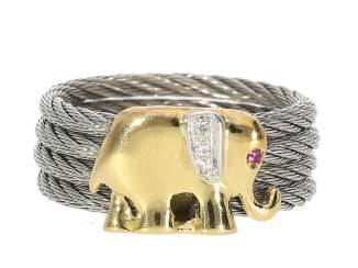 Ring: like-new, exceptional ladies ring made of steel and 18KGold, subject