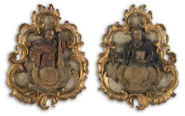 Pair of relief plaques with apostles representations