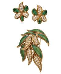 DIAMOND AND ENAMEL BROOCH AND EARRINGS