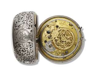 DAVID HUBERT, SILVER OPENFACE QUARTER REPEATING PAIR CASED KEYWOUND VERGE WATCH WITH SQUARE HINGE