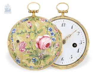 Pocket watch: exceptionally gorgeous 20K Gold/enamel Spindeluhr special quality of