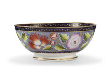 ENGLISH PORCELAIN PERIWINKLE-GROUND PUNCH BOWL