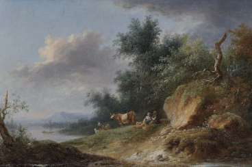 France (?), 18./19. Century. Riverside landscape with rastendem shepherds few, and livestock