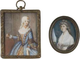 TWO MINIATURES WITH LADIES PORTRAITS