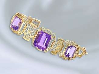 Bracelet: extremely elaborately crafted vintage amethyst goldsmith bracelet, handcrafted from 14K gold