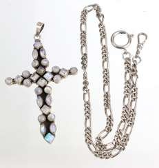 Cross pendant with moonstone & fire opal