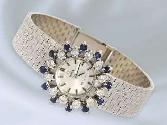 Watch: luxury model of a vintage Omega de Ville ladies watch with diamond and sapphire trim, approx 1970