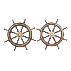 TWO ship steering wheels, ONCE a