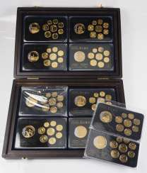 Euro: Collection of 10 gold-plated small coin sets, with country medal.