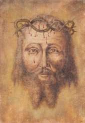 UNKNOWN PAINTER Active in the 19th century./ 20. Century Mandylion (not man-made face of Christ)