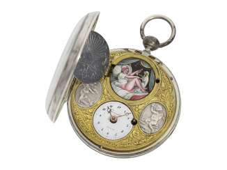 Pocket watch: a Museum and a unique Spindeluhr with concealed erotic enamel painting with an extremely rare motif, Girardier l'Aîné (Paris), No. 19969, CA. 1810
