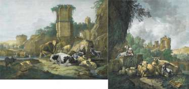 Roos, Johann Heinrich, in 1631, Otterberg - 1685 Frankfurt/Main, convolute of two color lithographs after paintings