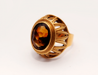 Ring with rauchtopaz.gold 56