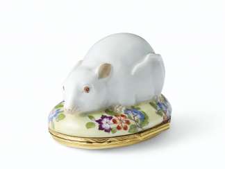A SILVER-GILT MOUNTED MEISSEN PORCELAIN RAT-FORM SNUFF-BOX