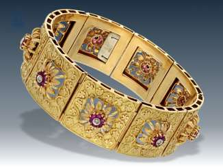 Bracelet: exquisite, formerly very expensive, vintage gold bracelet with rubies and diamonds, 18K Gold forging