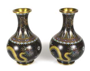 Pair of small Cloisonné bottle vases