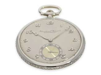 Pocket watch: extremely rare IWC Frackuhr from the time of Art Deco, white gold set with diamonds, CA. 1930