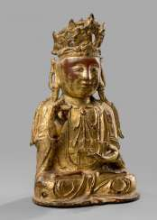 Bronze of Guanyin with lacquer gilding
