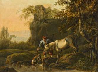 Landscape painter early 19th century: At the drinking trough