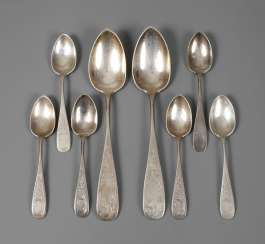 Silver two dining - and six coffee spoons