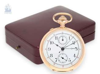 Pocket watch: very fine, red-gold split-seconds chronograph with Register, Charles-Léon Guinand, Locle, around 1895