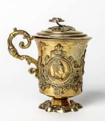 Important gold-plated silver Cup with medallions of the Imperial family