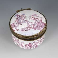 Round enamel box with purple painting
