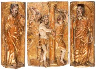 THREE RELIEF PANELS: FLAGELLATION OF CHRIST AND TWO APOSTLES
