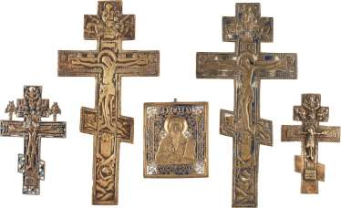 BRONZE ICON AND FOUR CRUCIFIXES
