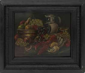 ARTIST UNKNOWN, fruit still life with Lobster, Oil/cardboard, 19./20. Century