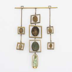 Extraordinary, large pendant with antique scarabs and small plastic