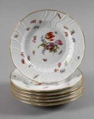 Meissen six salad plates with insects painting