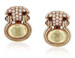 BULGARI COLORED SAPPHIRE, SAPPHIRE AND DIAMOND EARRINGS