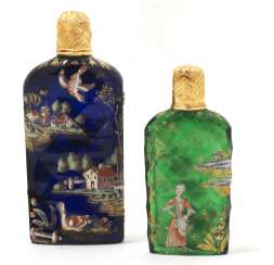 TWO GEORGE II GOLD MOUNTED GLASS SCENT BOTTLES