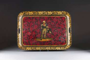 LARGE TRAY WITH THE REPRESENTATION OF GENERAL FIELD MARSHAL GEBHARD LEBERECHT VON BLÜCHER