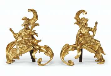 A PAIR OF LOUIS XV STYLE ORMOLU CHENETS