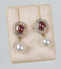 Ruby, Pearl Earrings
