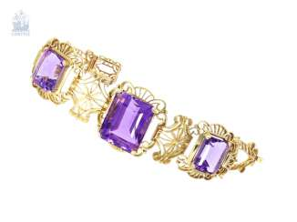 Bracelet: elaborately crafted vintage Amethyst/gold wrought bracelet, crafted from 14K Gold